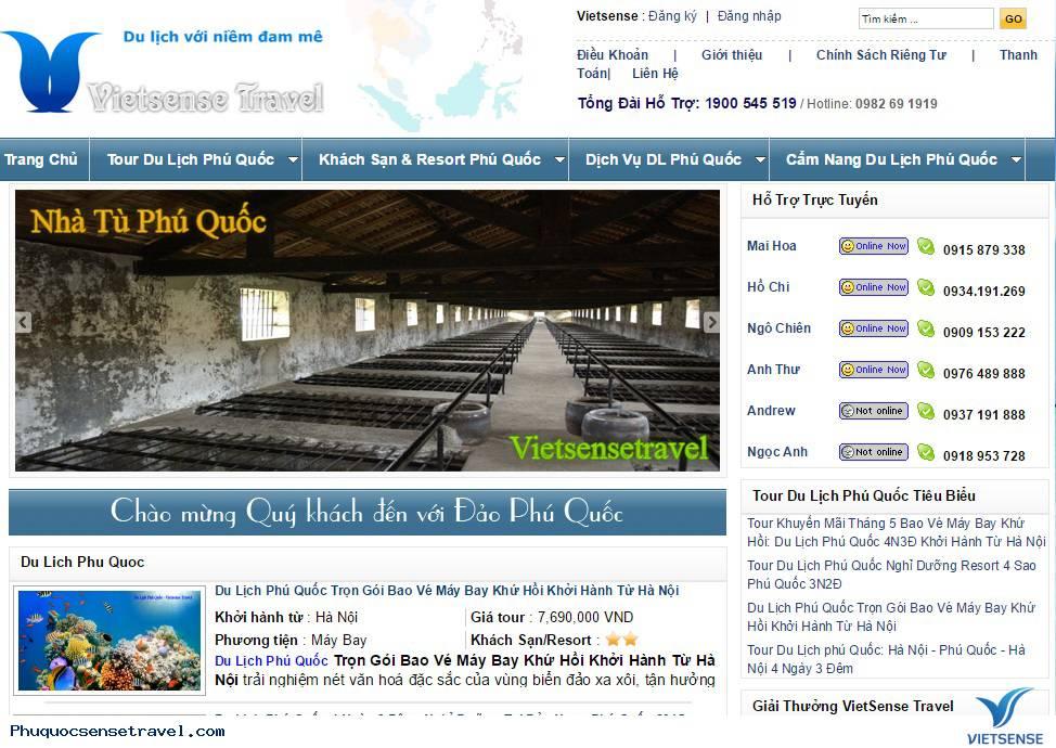 Giới Thiệu Về Trang Website Phuquocsensetravel.com
